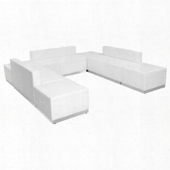 Flash Furniture Hercules Alon 7 Piece Reception Seating In White