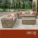 TKC Cape Cod 6 Piece Patio Wicker Sofa Set in Wheat