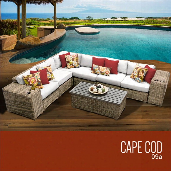 Tkc Cape Cod 9 Piece Patio Wicker Sectional Set In White