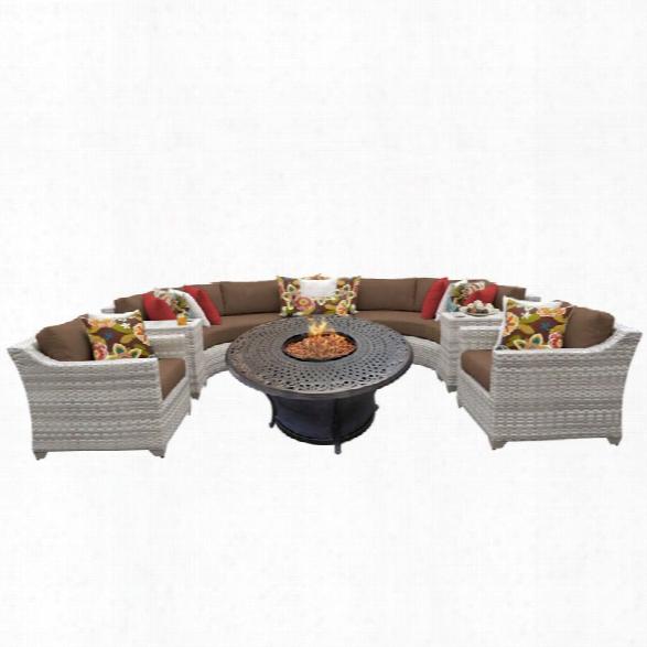 Tkc Fairmont 8 Piece Patio Wicker Fire Pit Sofa Set In Dark Brown