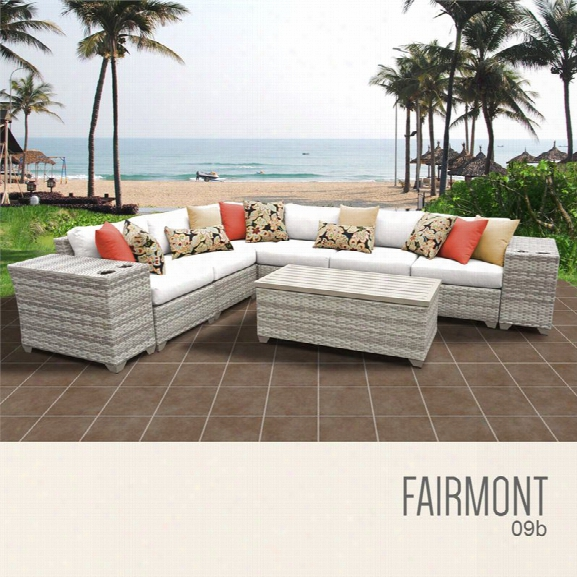 Tkc Fairmont 9 Piece Patio Wicker Sectional Set In White