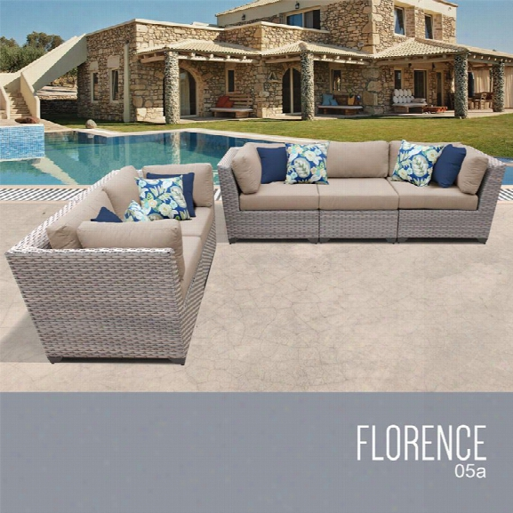 Tkc Florence 5 Piece Patio Wicker Sofa Set In Wheat