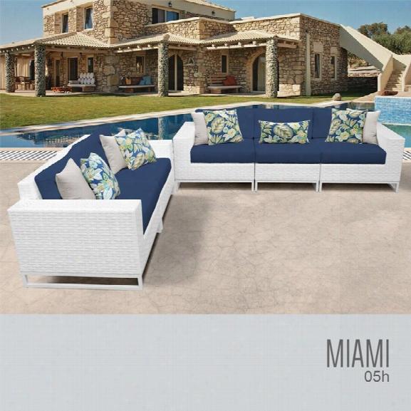 Tkc Miami 5 Piece Patio Wicker Sofa Set In Blue
