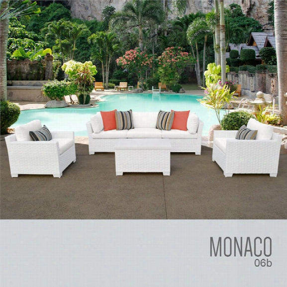 Tkc Monaco 6 Piece Patio Wicker Sofa Set In White