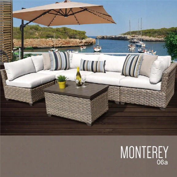 Tkc Monterey 6 Piece Patio Wicker Sectional Set In White