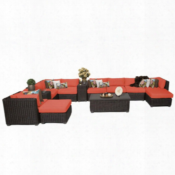 Tkc Venice 13 Piece Patio Wicker Sectional Set In Orange
