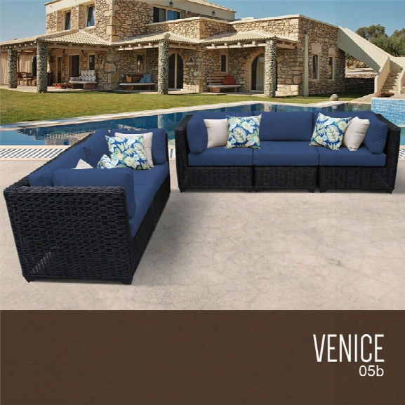 Tkc Venice 5 Piece Patio Wicker Sofa Set In Blue