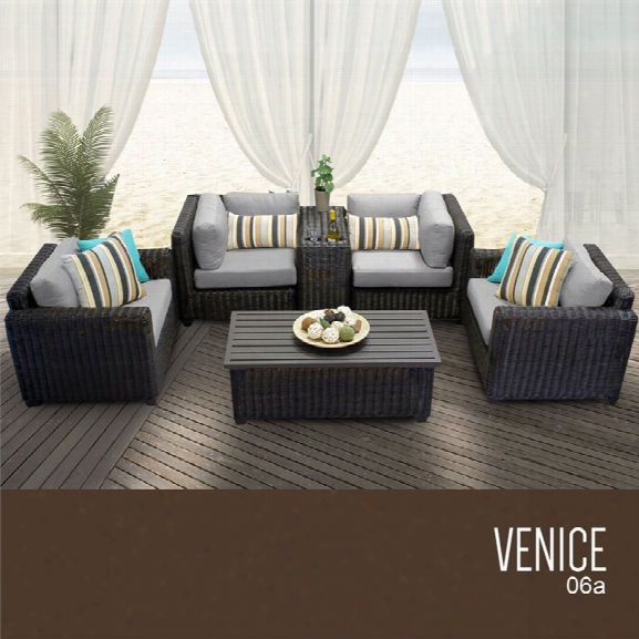 Tkc Venice 6 Piece Patio Wicker Sofa Set In Gray