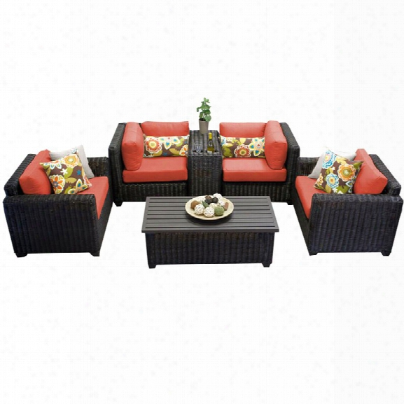 Tkc Venice 6 Piece Patio Wicker Sofa Set In Orange