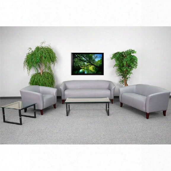 Flash Furniture Imperial 3 Piece Leather Reception Sofa Set In Gray