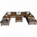 TKC Monterey 12 Piece Outdoor Wicker Sofa Set in Cocoa