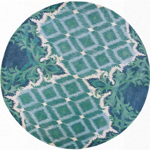 Kas Bob Mackie Home 7'6 Round Hand-tufted Wool Rug In Blue