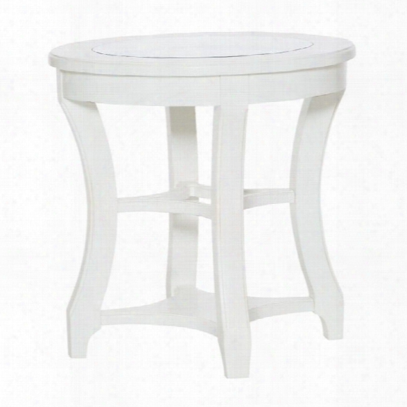 American Drew Lynn Haven Round Glass End Table In White