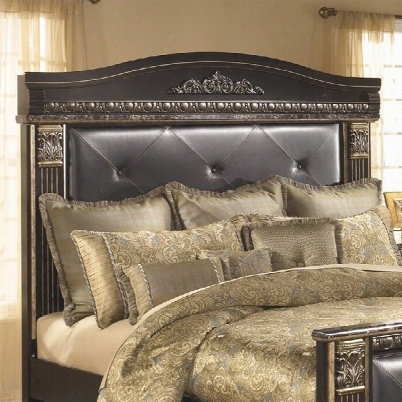 Ashley Coal Creek Upholstered King Panel Headboard In Dark Brown