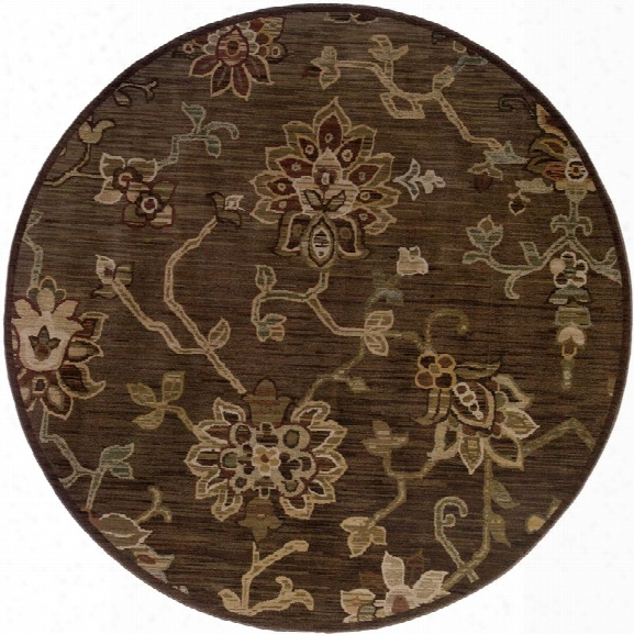 Oriental Weavers Allure 7'8 Round Machine Woven Rug In Brown