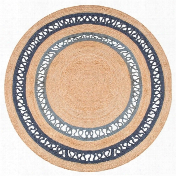 Jaipur Rugs Spiral 8' X 8' Round Naturals Jute Rug In Blue And Neutral