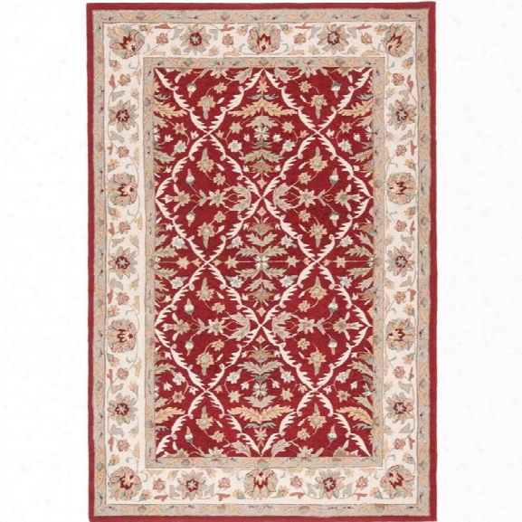 Safavieh Durarug 9' X 12' Hand Hooked Rug In Red And Ivory
