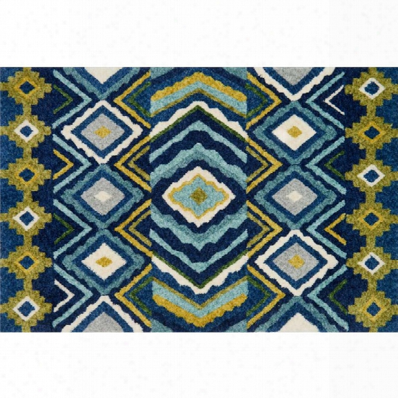 Loloi Kalliope 9'3 X 13' Contemporary Rug In Navy And Lime