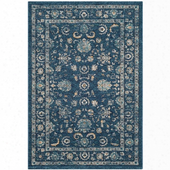 Safavieh Carmel 9' X 12' Power Loomed Rug In Navy And Beige