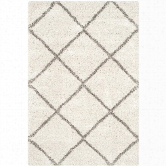 Safavieh Hudson Shag 11' X 15' Power Loomed Rug In Ivory And Gray