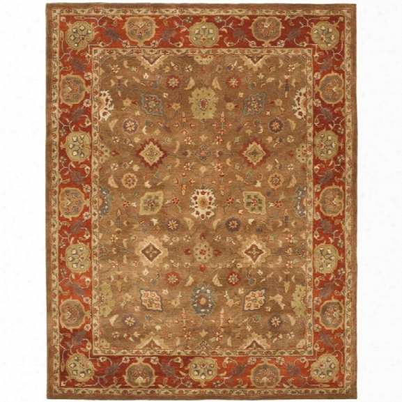 Safavieh Heritage 9'6 X 13'6 Hand Tufted Wool  Rug In Moss And Rust