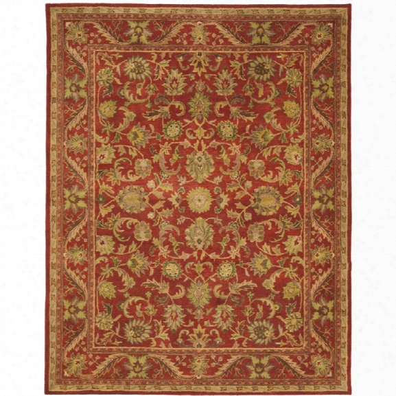 Safavieh Antiquity 12' X 15' Hand Tufted Wool Pile Rug In Red And Red