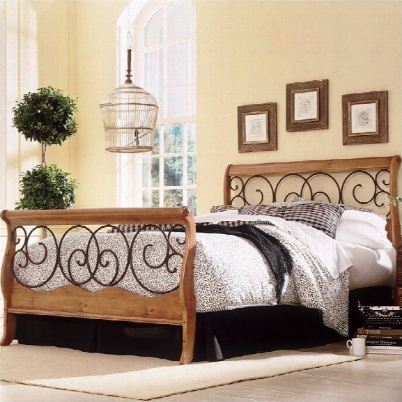 Fashion Bed Dunhill Sleigh Bed In Honey Oak With Autumn Brown Finish-full