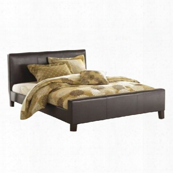 Fashion Bed Euro Leather Platform Bed In Sable Finish-queen