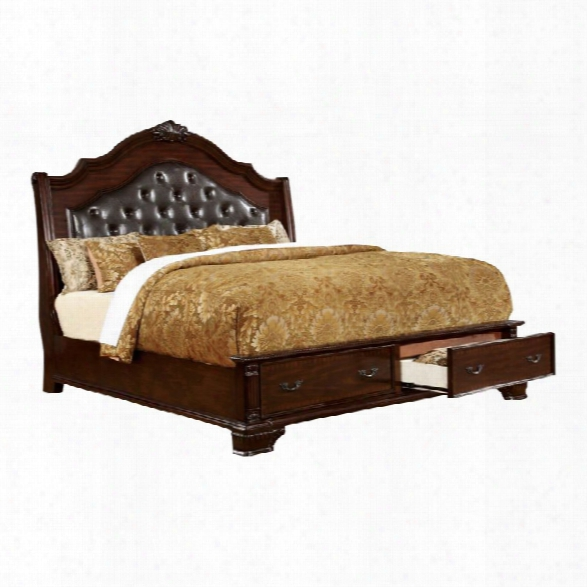 Furniture Of America Darnell Ii Queen Bed In Brown Cherry