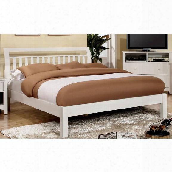 Furniture Of America Elena Slat California King Bed In White