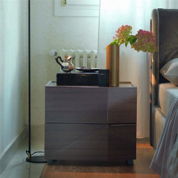 Rossetto Elysee Left Facing Quilted Glass Top Nightstand In Eucalipto