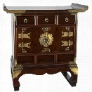 Oriental Furniture Korean Antique Style End Table Cabinet in Rosewood
