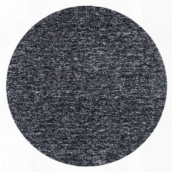 Kas Bliss 8' Round Hand-woven Shag Rug In Black
