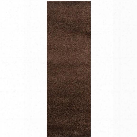 Safavieh Santa Monica Shag 9'6 X 13' Power Loomed Rug In Brown