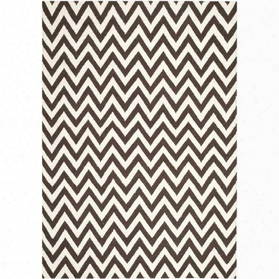 Safavieh Dhurries Brown Contemporary Rug - 10' X 14'
