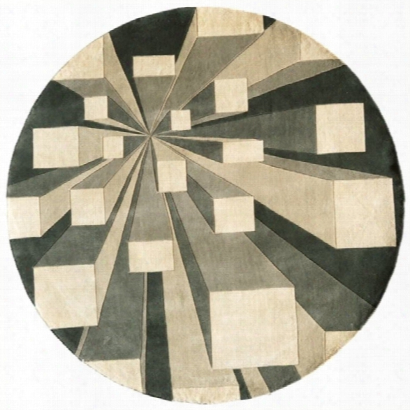 Momeni New Wave 7'9 X 7'9 Round Rug In Concrete
