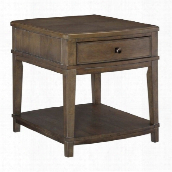 American Drew Park Studio 1 Drawer Wood End Table In Taupe