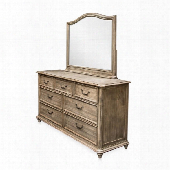 Furniture Of America Bartrand 7 Drawer Dresser And Mirror Set In Gray