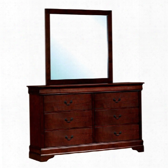 Furniture Of America Cedric 6 Drawer Dresser And Mirror Set In Cherry