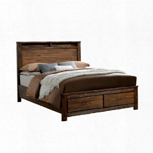 Furniture Of America Gilbert King Platform Panel Storage Bed In Oak