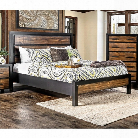 Furniture Of America Idina Two Tone King Bed In Black And Oak