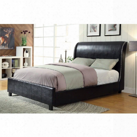 Furniture Of America Marianna Queen Leather Low Profile Bed In Black