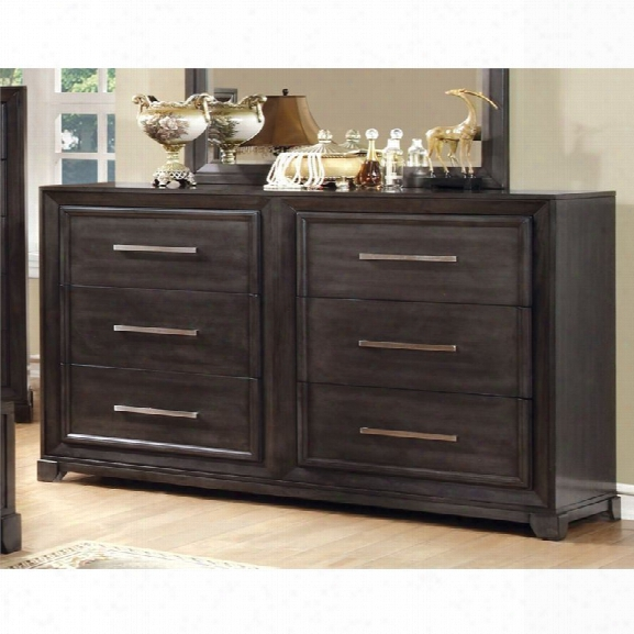 Furniture Of America Prather 6 Drawer Dresser In Dark Gray