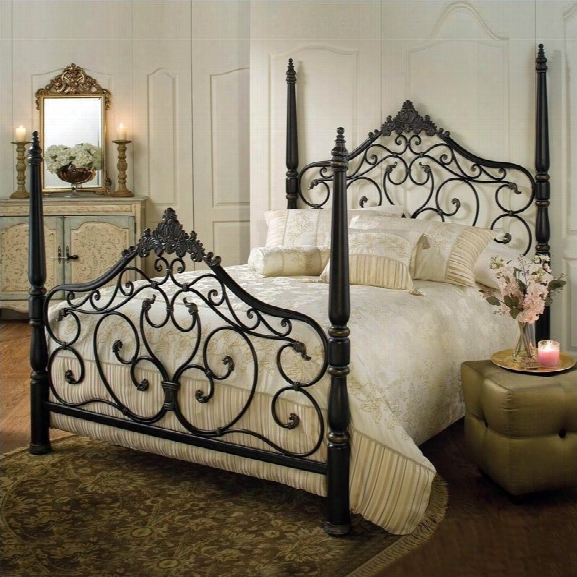 Hillsdale Parkwood Metal Poster Bed In Black Gold Finish-queen