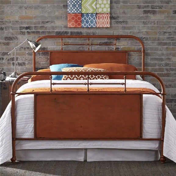 Liberty Furniture Vintage King Metal Bed In Distressed Orange
