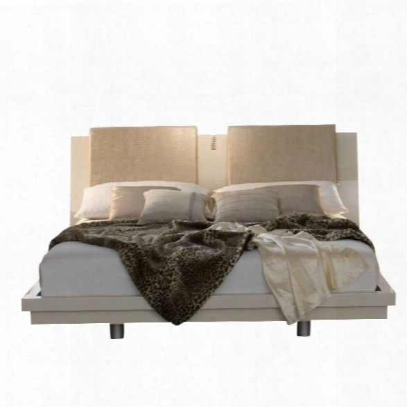 Rossetto Diamond Platform Bed In Ivory-queen
