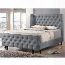 Baxton Studio Francesca Tufted Queen Panel Platform Bed in Gray