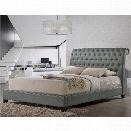 Baxton Studio Jazmin Tufted King Sleigh Platform Bed in Gray