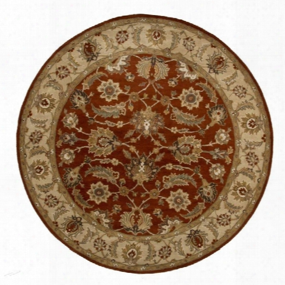 Jaipur Rugs Mythos 8' X 8' Round Hand Tufted Wool Rug In Red And Taupe