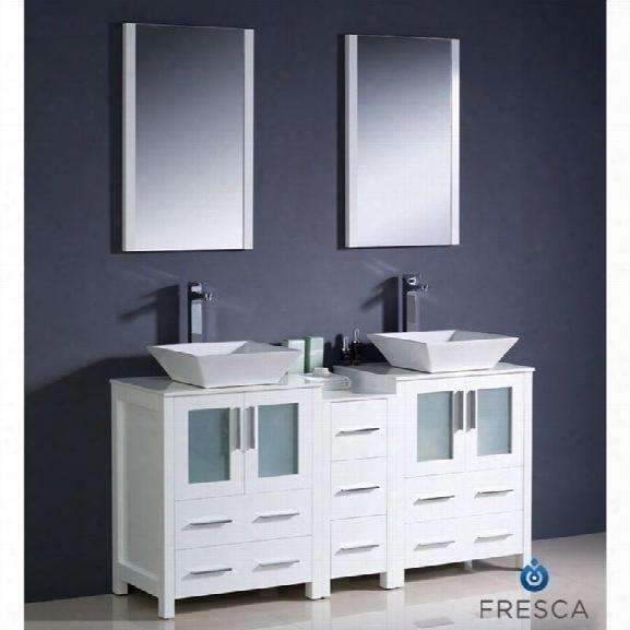 Fresca Bari Torino 60 Bathroom Vanity Set In White-tolerus In Chrome
